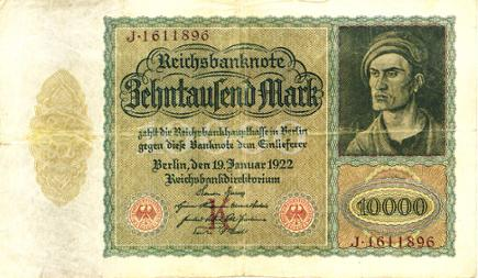 Reichsbanknote 10.000 Mark, 19. Januar 1922
