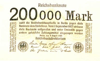 Reichsbanknote 200.000 Mark, 9. August 1923