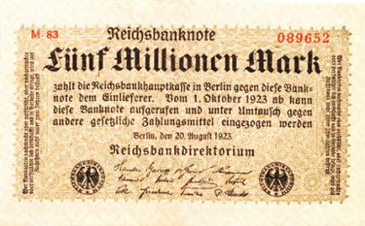 Reichsbanknote 5 Millionen Mark, 20. August 1923