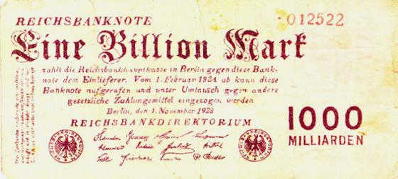 Reichsbanknote 1 Billion Mark, 1. November 1923