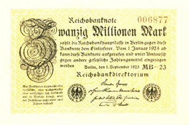 Reichsbanknote 20 Millionen Mark, 1. September 1923
