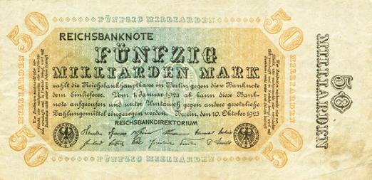 Reichsbanknote 50 Milliarden Mark, 10. Oktober 1923
